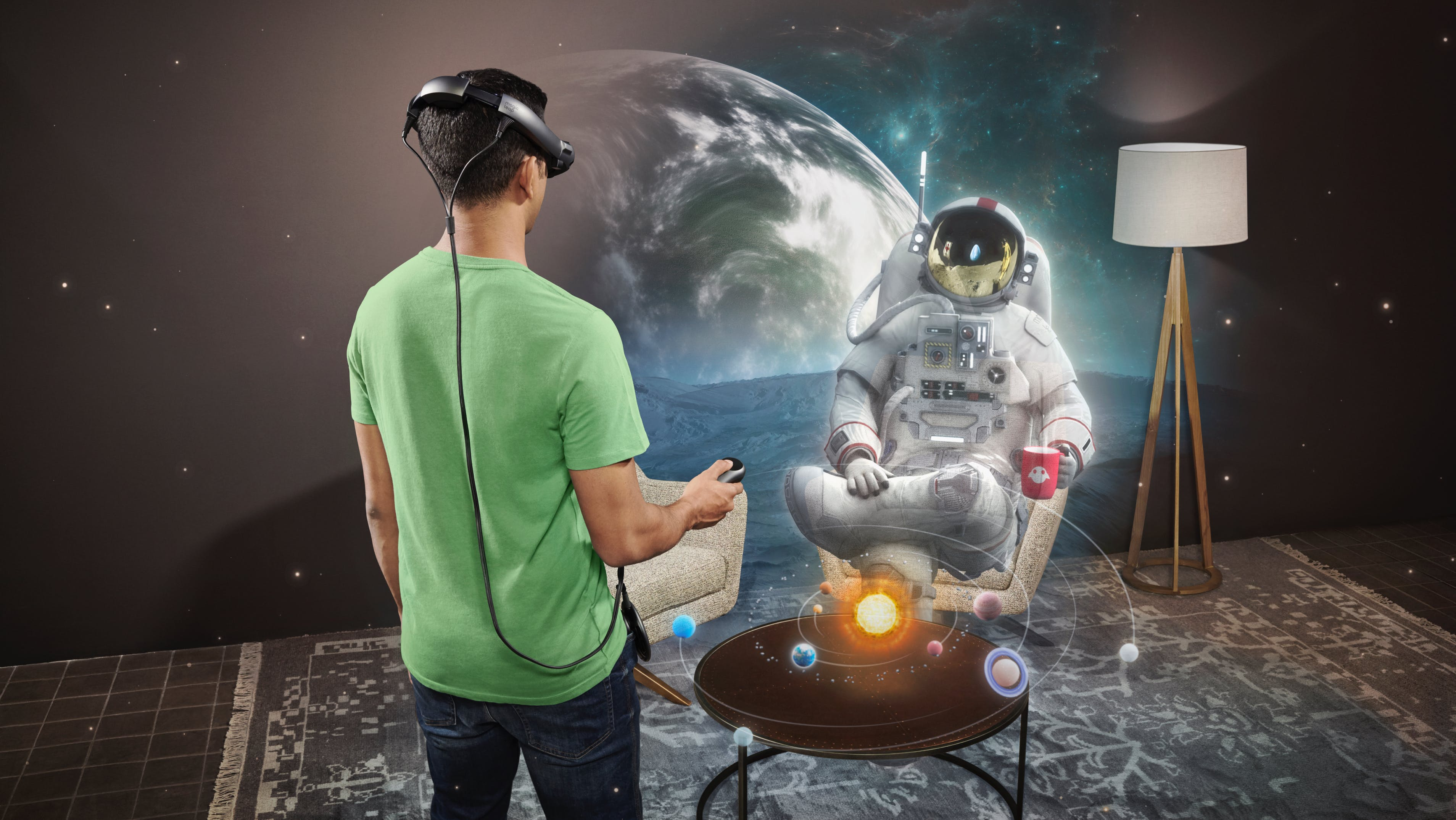 Using Magic Leap 1 to see an astronaut sitting on the couch drinking tea.