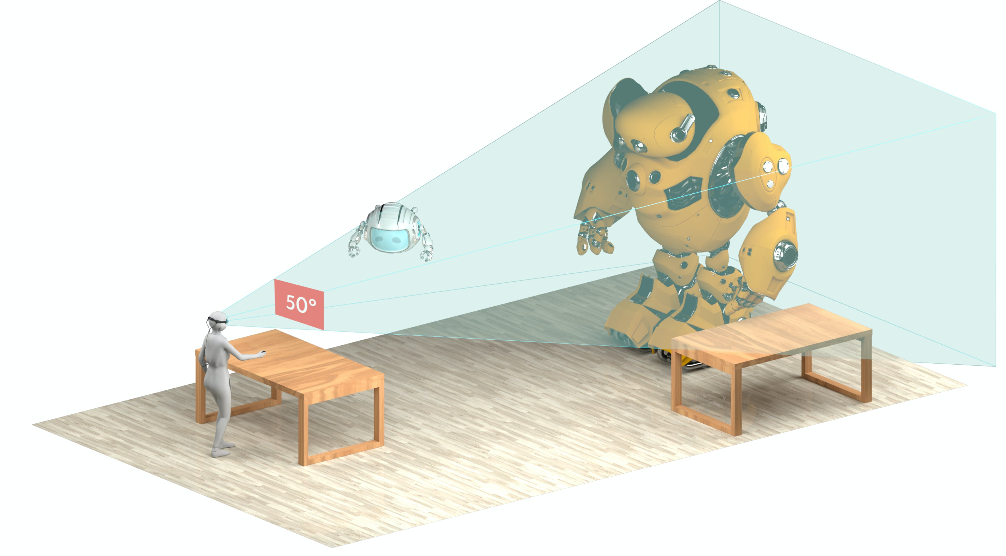 Illustration showing the volume of view for Magic Leap1.