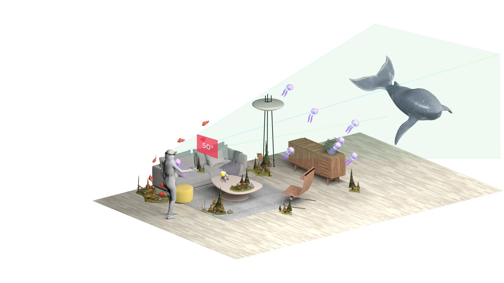 Illustration showing the volume of view for Magic Leap 1.