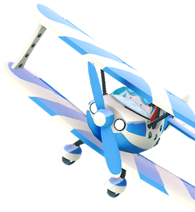 airplane with blue propeller