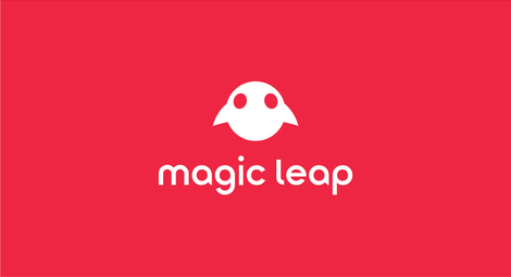 Magic Leap Vertical Lockup - White on Mission Red