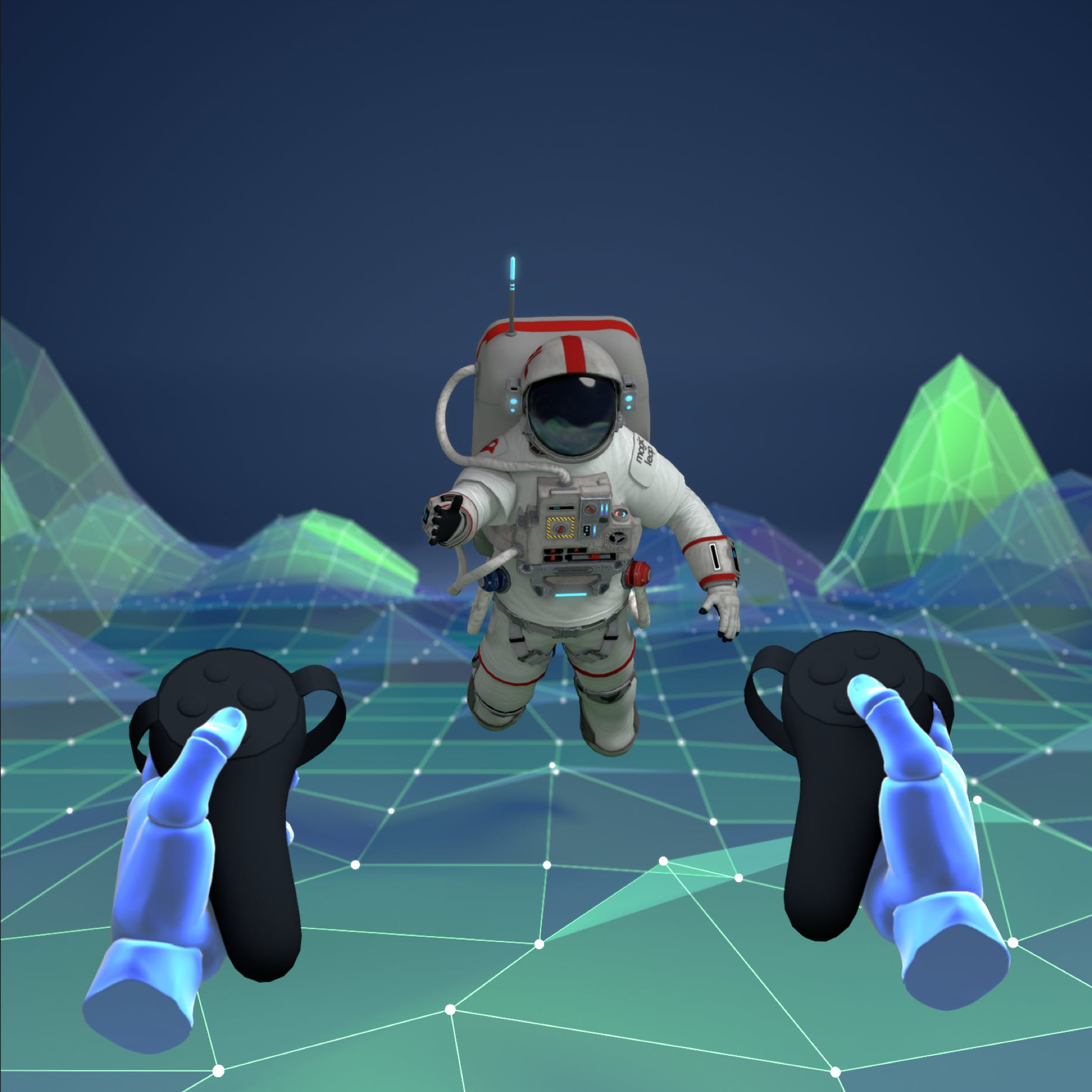An astronaut in the VR space.