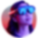 Young woman wearing Magic Leap One Creator Edition Lightwear lit by neon lights
