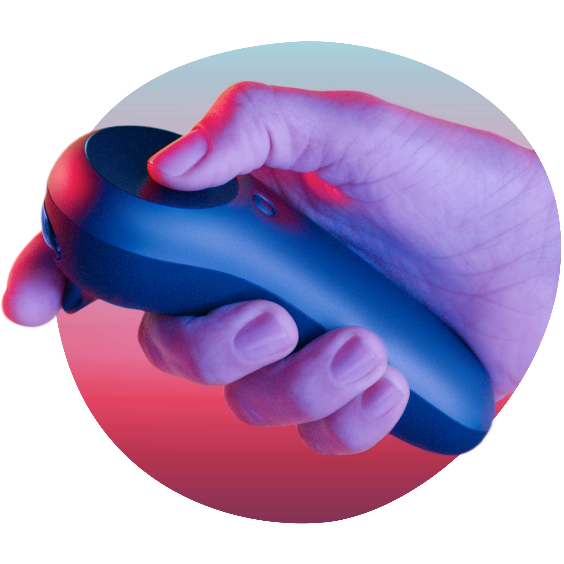 Hand holding Magic Leap One's Control device lit by neon lights in a sphere