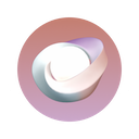 Pink and purple neon gradients with a spherical ribbon device