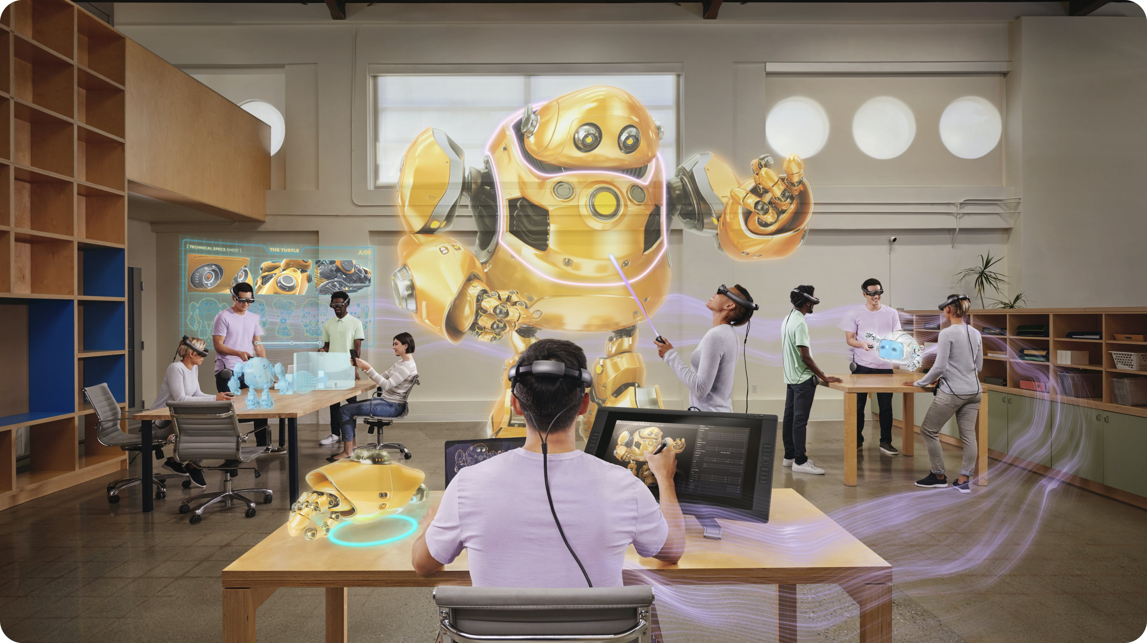 A robot surrounded by developers creating.
